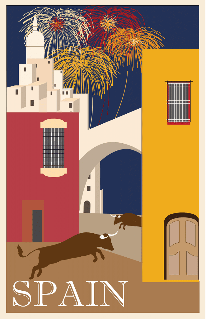a postcard from Spain with two bulls