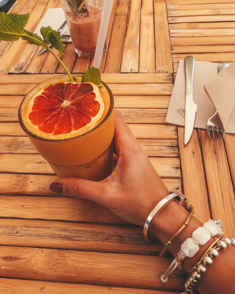 delicious mango smoothie at Brunch and Cake in Barcelona Spain
