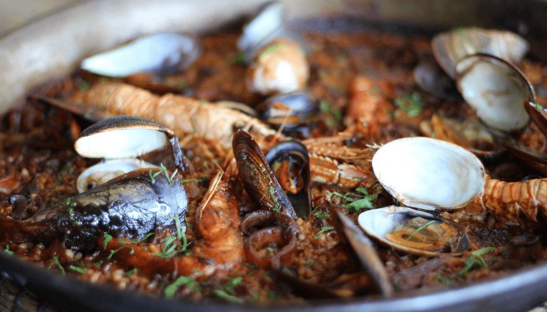 delicious seafood paella in Barcelona