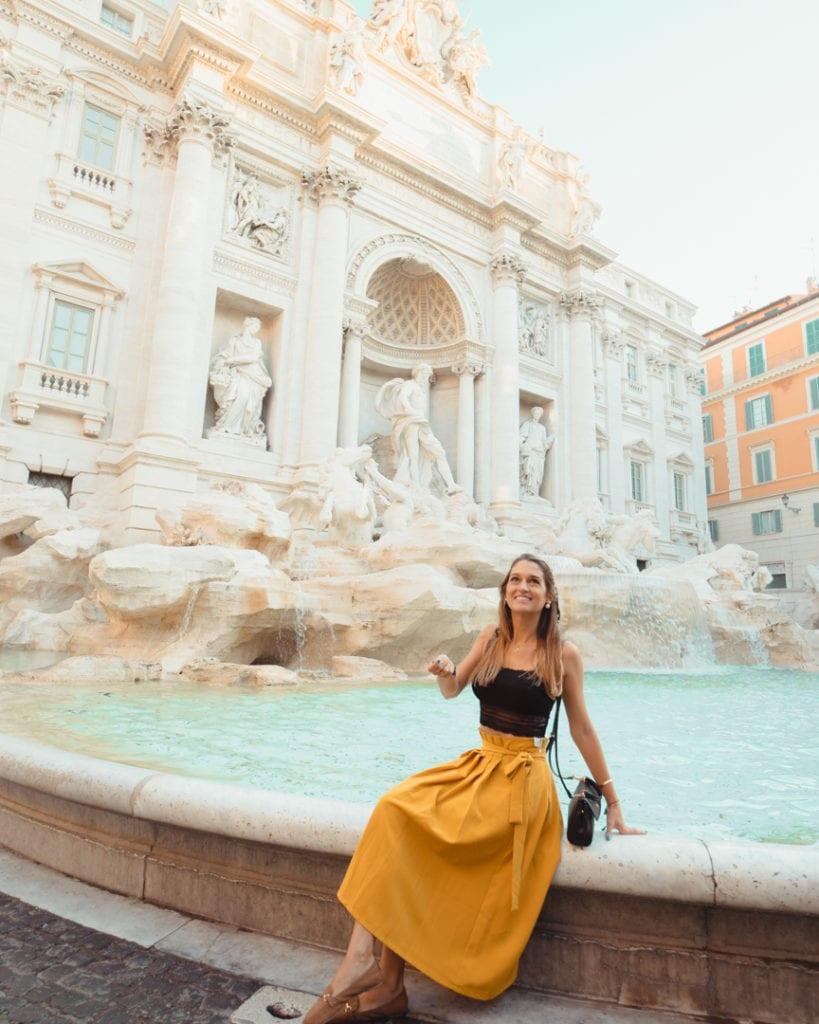 The beautiful Fontana di Trevi during the morning time