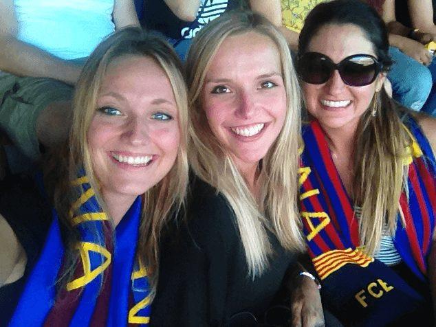 Girls at Camp Nou in Barcelona Spain
