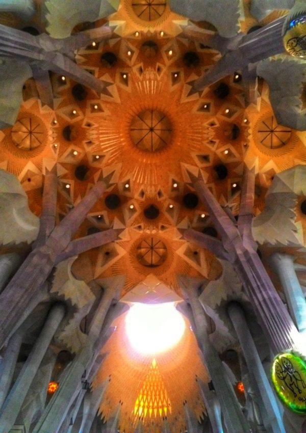 the sagarad familia ceiling in barcelona