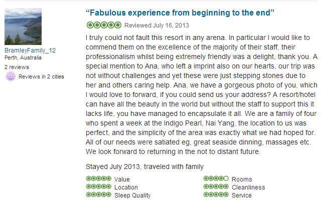 my tripadvisor review praising my hotel servicecs