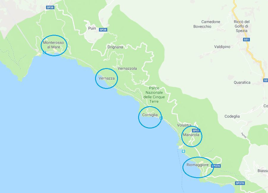 Cinque Terre Google Map with All of its 5 villages circled.