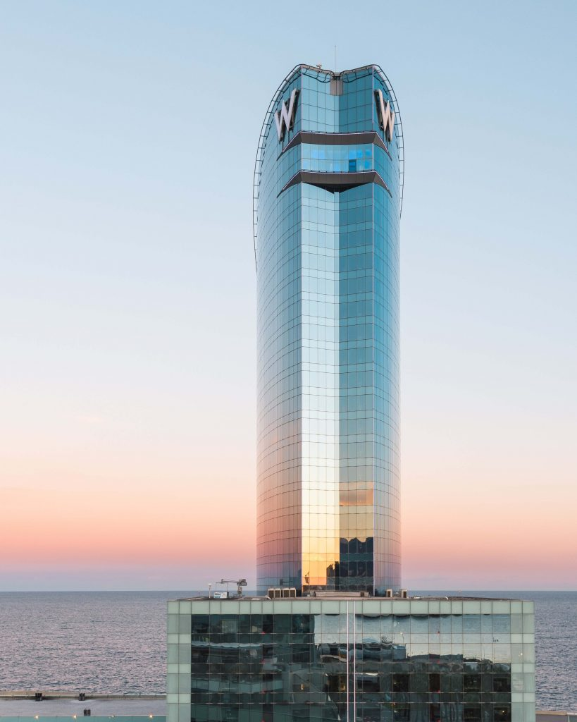 a beauitful shot of the W Hotel in barcelona Spain
