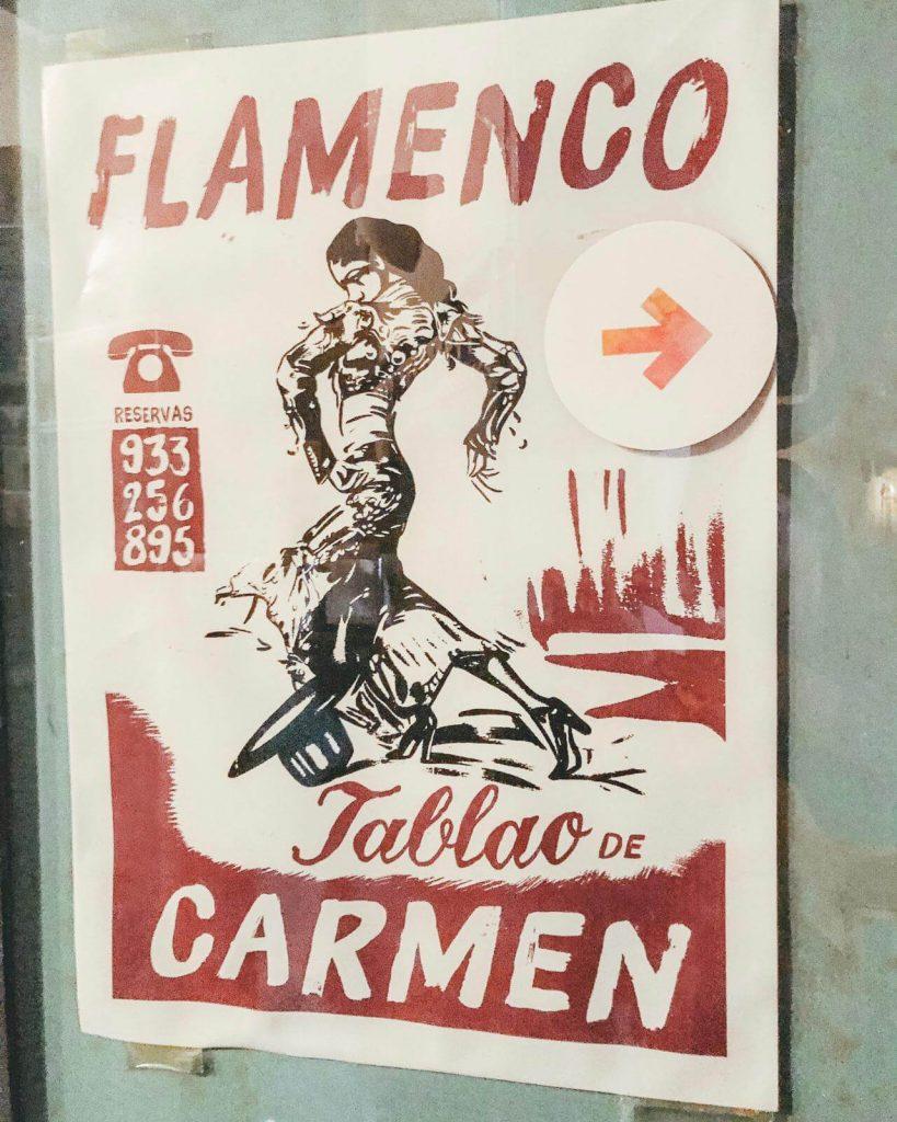 poster in front of tablao de carmen in Barcelona spain authentic flamenco show