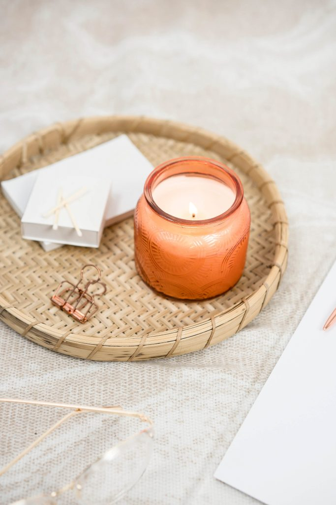 Spa Day at Home: Ideas for DIY homemade Spa | Dim the light and put on some aromatic candles of your preference (or scented oils, if preferred. You can burn them in this delicate set. salt lamp, which helps purify the air #spadayathome #diyspa