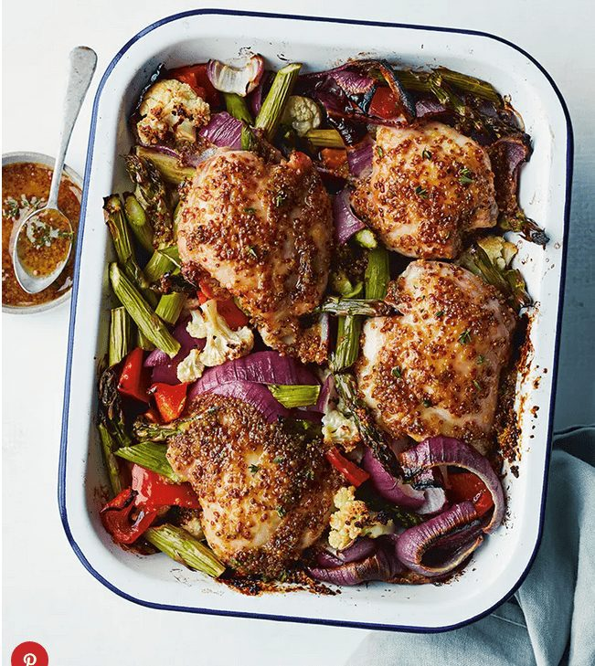 Honey Mustard Chicken Bake    This savory-sweet sheet-pan dinner is almost totally hands-off, which leaves you plenty of time to do everything you've been putting off all week. #healthyrecipes #healthyfood #chickenfordinner