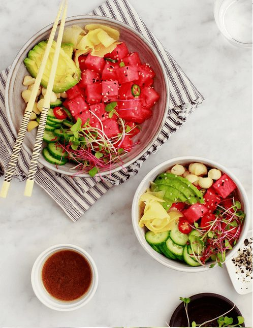Watermelon Poke Bowls (Vegan)   I have put together some easy, colorful, and healthy  summer recipes to inspire you to keep up with your healthy eating habits.