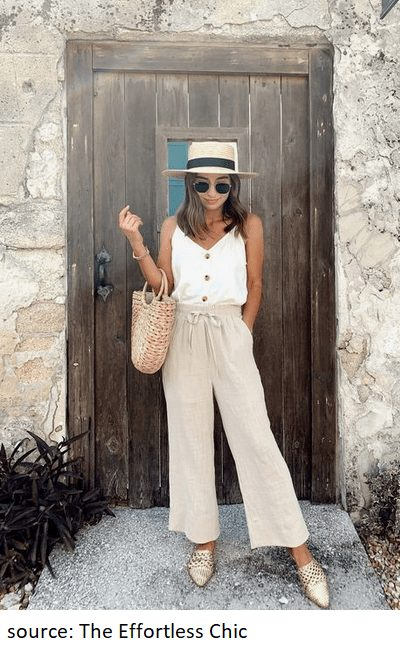 This outfit from below is my favorite from this list.  The monochromatic cream look is definitely one of my favorites for summer. The pointy-toe flats, buttoned shirt and straw hat are the small details that make the entire look all the more more elegant. #summeroutfits #linenpants #linen #summerfashion
