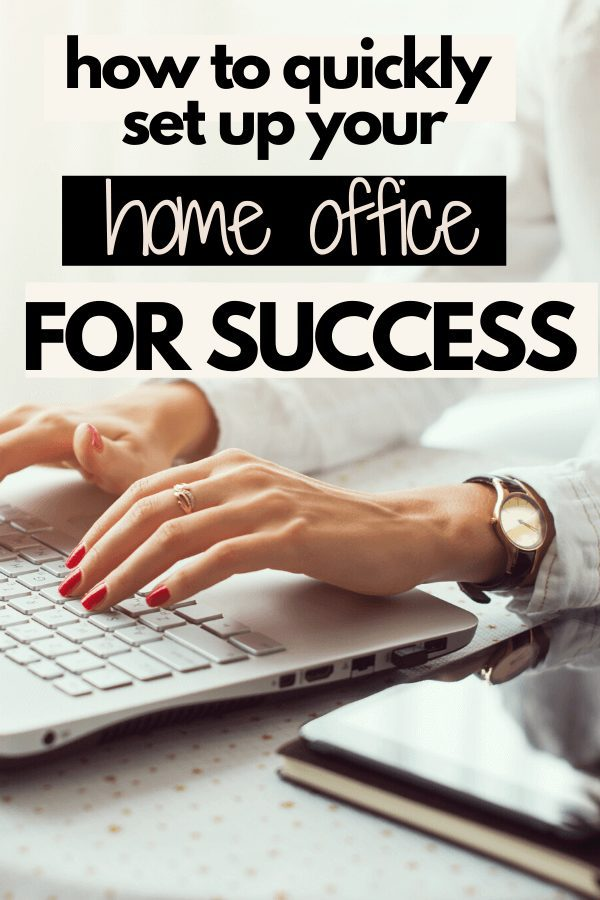 Looking for home office organization ideas to be more productive? Work from home can be challenging if you don't have the proper space set up. Learn how to be productive and tips for at home time management working from home during quarantine. #howtobeproductiveworkingfromhome #workfromhomeproductivity #workfromhome #duringquarantine #homeofficesetup