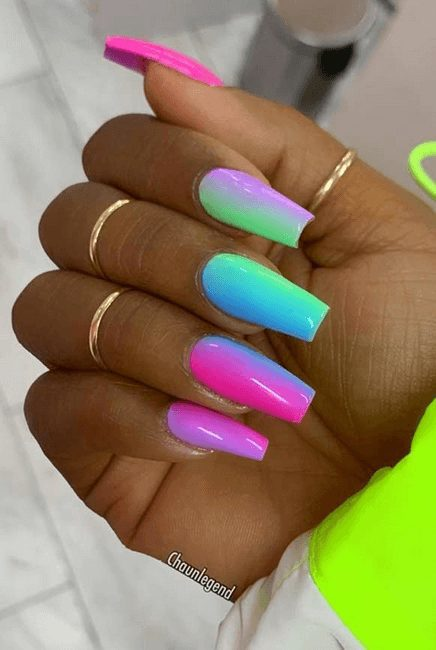 40+ Colorful & Bright Summer Acrylic Nail Art Designs. If you're looking for Summer nail art ideas such as neon nails and glitter nails in a variety of colors, from orange, blue, red and even hot pink summer nail colors, you're in the right place! Bright Summer Acrylic Nails, long nail designs, short acrylic and bright nail designs.  #summernails #acrylicnails #naildesign