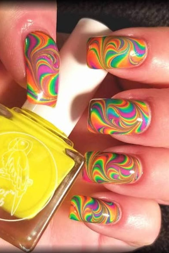 40+ Colorful & Bright Summer Acrylic Nail Art Designs. If you're looking for Summer nail art ideas such as neon nails and glitter nails in a variety of colors, from orange, blue, red and even hot pink summer nail colors, you're in the right place! Bright Summer Acrylic Nails, long nail designs, short acrylic and bright nail designs. Get inspired by coffin short, coffin long and square nail designs for summer 2020  #summernails #acrylicnails #naildesign