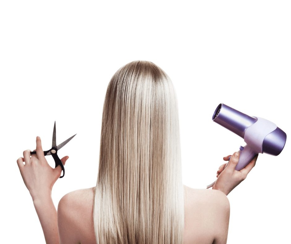 Blonde girl with her back to the camera holding scissors and a blow dryer.
