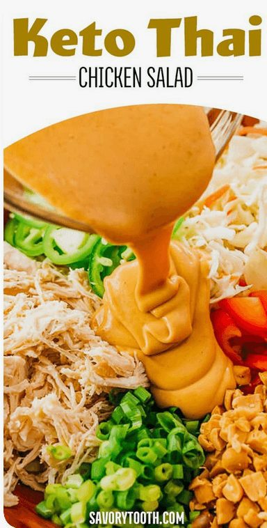 16+  Best Keto Salad Recipes for Summer Weight Loss: Keto Thai Chicken Salad. Want Easy Keto Salad Ideas? If you're looking for delicious keto salad recipes low carb, best keto salads, ketogenic diet tips, or even keto salad recipes lunches and healthy keto dressing recipes, you'll find them all here! There's Keto salad recipes perfect for a crowd, Keto salad recipes ideas for lunch and dinners. #keto #salad #ketodiet #ketogenic #ketosalad #recipes #saladrecipes #ketosaladrecipes  #ketolunch  #dinner #lowcarb #chicken #chickensalad