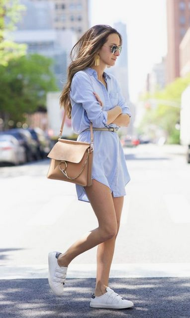 The best shirt dress outfit for women & t shirt fashion   SHORT BLUE  SHIRT DRESS - Looking for the perfect office dress shirt outfit to wear for summer? These shirt dress outfits and styles shirt are perfect to wear for warm weather. Find the best casual and chic dress shirt outfits for women that are, comfortable, and also the best fashionable t shirts summer outfits for women. #shirtdressoutfit #shirtdress #tshirtstyle #styleshirt #summeroutfits