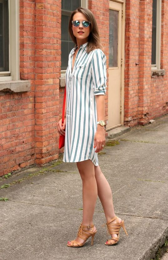The best shirt dress outfit for women & t shirt fashion   GREEN & WHITE STRIPES - Looking for the perfect office dress shirt outfit to wear for summer? These shirt dress outfits and styles shirt are perfect to wear for warm weather. Find the best casual and chic dress shirt outfits for women that are, comfortable, and also the best fashionable t shirts summer outfits for women. #shirtdressoutfit #shirtdress #tshirtstyle #styleshirt #summeroutfits