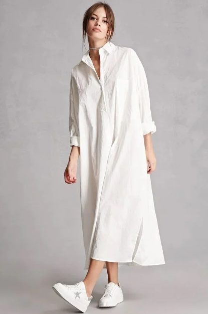White Sneakers with Dress   Oversized Shirt Dress- My favorite summer style is the white sneakers with dress duo. The classic white sneaker style is timeless, casual and cute. Paired with a summer dress, white shoes are the ultimate fashion statement for summer and spring. #whitesneakers #whitesneakersoutfit ##whitesneakerswithdress #dress #summeroutfits #womensfashion  #sneakersstyle #whiteshoes