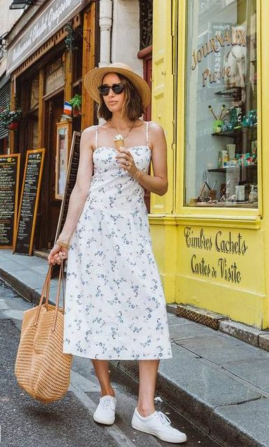 White Sneakers with Dress   Long Spring Dress and White Sneakers Outfit, ideal for summer in France - My favorite summer style is the white sneakers with dress duo. The classic white sneaker style is timeless, casual and cute. Paired with a summer dress, white shoes are the ultimate fashion statement for summer and spring. #whitesneakers #whitesneakersoutfit ##whitesneakerswithdress #dress #summeroutfits #womensfashion  #sneakersstyle #whiteshoes