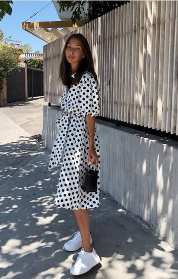 White Sneakers with Dress   White Polka Dot Dress and White Shoes - My favorite summer style is the white sneakers with dress duo. The classic white sneaker style is timeless, casual and cute. Paired with a summer dress, white shoes are the ultimate fashion statement for summer and spring. #whitesneakers #whitesneakersoutfit ##whitesneakerswithdress #dress #summeroutfits #womensfashion  #sneakersstyle #whiteshoes
