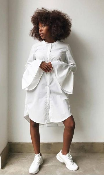 White Sneakers with Dress   Puffy Shirt Dress and White Shoes - My favorite summer style is the white sneakers with dress duo. The classic white sneaker style is timeless, casual and cute. Paired with a summer dress, white shoes are the ultimate fashion statement for summer and spring. #whitesneakers #whitesneakersoutfit ##whitesneakerswithdress #dress #summeroutfits #womensfashion  #sneakersstyle #whiteshoes