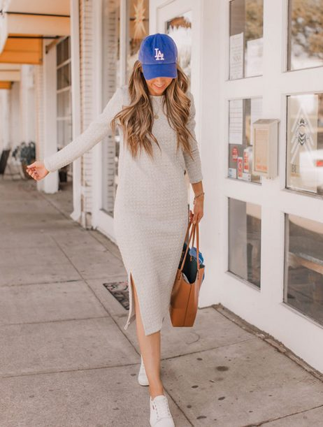 White Sneakers with Dress   Beige Dress and a Baseball Hat- My favorite summer style is the white sneakers with dress duo. The classic white sneaker style is timeless, casual and cute. Paired with a summer dress, white shoes are the ultimate fashion statement for summer and spring. #whitesneakers #whitesneakersoutfit ##whitesneakerswithdress #dress #summeroutfits #womensfashion  #sneakersstyle #whiteshoes