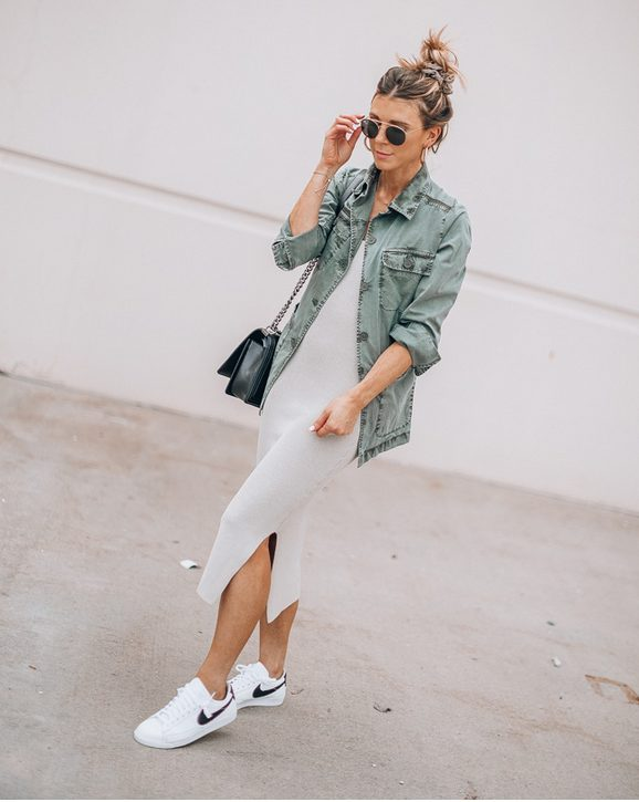 White Sneakers with Dress   Long Creme Dress and Denim Jacket- My favorite summer style is the white sneakers with dress duo. The classic white sneaker style is timeless, casual and cute. Paired with a summer dress, white shoes are the ultimate fashion statement for summer and spring. #whitesneakers #whitesneakersoutfit ##whitesneakerswithdress #dress #summeroutfits #womensfashion  #sneakersstyle #whiteshoes