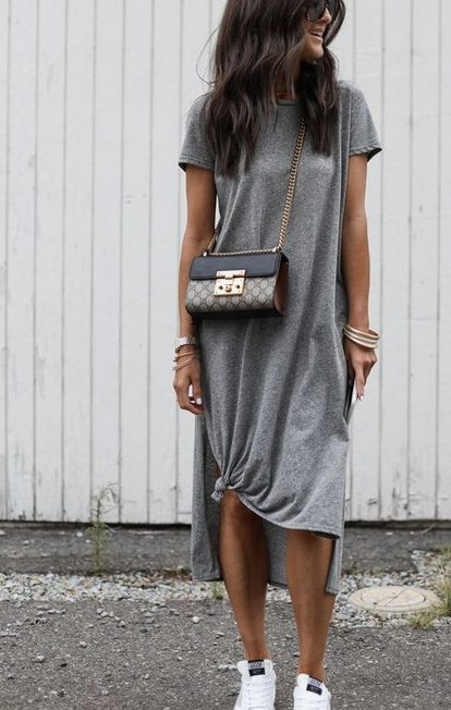 The best shirt dress outfit for women & t shirt fashion   GREY SHIRT DRESS - Looking for the perfect office dress shirt outfit to wear for summer? These shirt dress outfits and styles shirt are perfect to wear for warm weather. Find the best casual and chic dress shirt outfits for women that are, comfortable, and also the best fashionable t shirts summer outfits for women. #shirtdressoutfit #shirtdress #tshirtstyle #styleshirt #summeroutfits