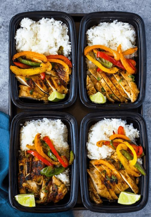 delicious Chili Lime Chicken, red and yellow bell peppers, rice meal prep bowls