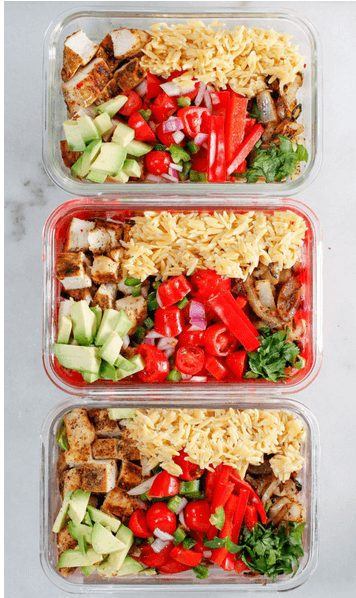 Chicken Meal Prep Recipe with redc vegetables and rice