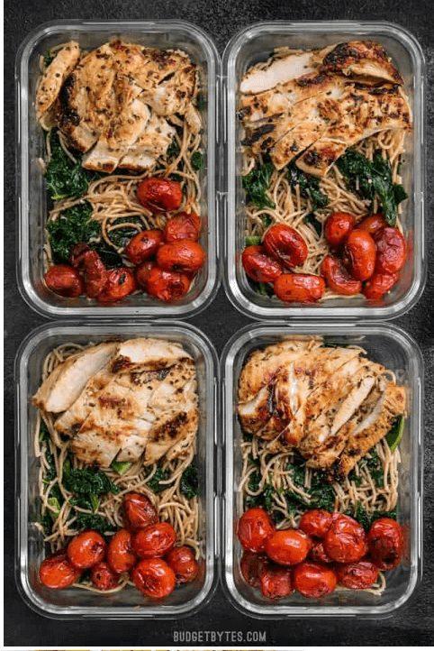 Garlic Parmesan Kale Pasta food preparation idea for the week