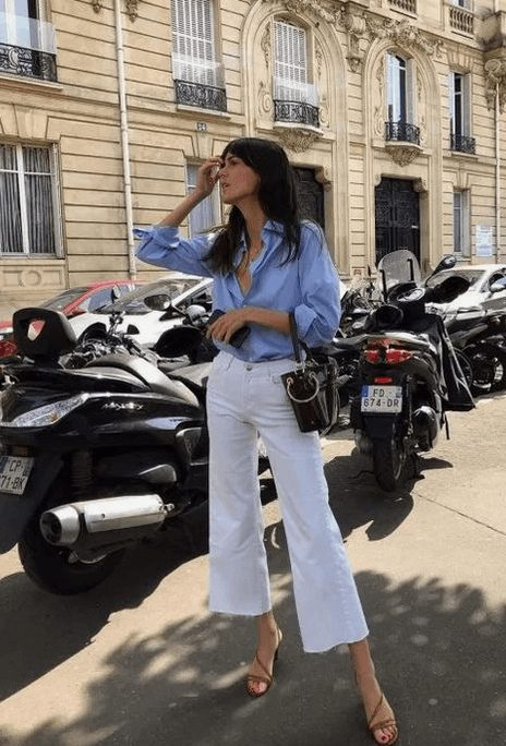 Fashion Tips for Women Over 30 from French Stylists such as this white pants and blue button down blouse | Need some style advice and fashion tips from top French fashion designers? Understand what is the Parisian chic style, get style inspiration and style advice from French women style icons. This post has the best French style inspiration and French style guide for women over 30 for summer. #fashionadvice #fashiontips #styleadvice #frenchstyletips #parisianfashion #frenchwomanstyle #parisianchic
