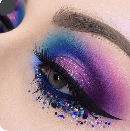 Dramatic Purple with Blue Neon Eye Makeup with Glitter    From Neon eyeshadow looks, neon eyeshadow in bright colors, from green, yellow, orange, hot pink, and blue. Beautiful eye makeup eyes, from neon eyeshadow makeup inspiration  colorful eye makeup, bright eye makeup, dramatic colorful eye makeup, and neon eyeshadow makeup tutorial, perfect for summer. Here you'll find the best bold ideas for bright neon eye makeup ideas, colorful eyeshadow, neon makeup glitter, and summer festival makeup #neoneyeshadow #neoneyemakeup #colorfuleyemakeup #brighteyemakeup #neoneyemakeupideas