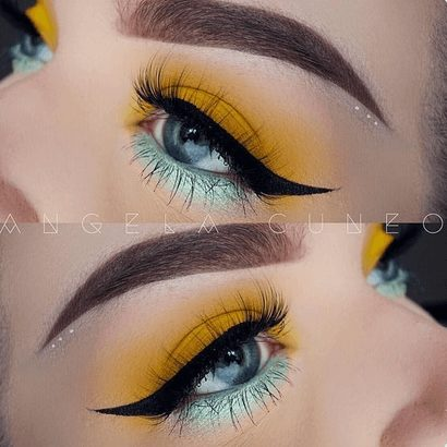 Neon Blue and Yellow Eye Makeup with Glitter    From Neon eyeshadow looks, neon eyeshadow in bright colors, from green, yellow, orange, hot pink, and blue. Beautiful eye makeup eyes, from neon eyeshadow makeup inspiration  colorful eye makeup, bright eye makeup, dramatic colorful eye makeup, and neon eyeshadow makeup tutorial, perfect for summer. Here you'll find the best bold ideas for bright neon eye makeup ideas, colorful eyeshadow, neon makeup glitter, and summer festival makeup #neoneyeshadow #neoneyemakeup #colorfuleyemakeup #brighteyemakeup #neoneyemakeupideas