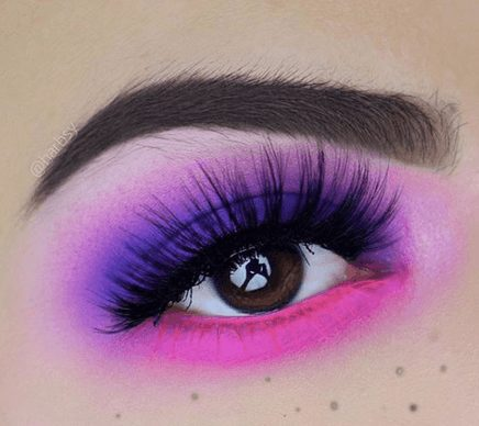 Neon Pink and Purple Eye Makeup with Glitter    From Neon eyeshadow looks, neon eyeshadow in bright colors, from green, yellow, orange, hot pink, and blue. Beautiful eye makeup eyes, from neon eyeshadow makeup inspiration  colorful eye makeup, bright eye makeup, dramatic colorful eye makeup, and neon eyeshadow makeup tutorial, perfect for summer. Here you'll find the best bold ideas for bright neon eye makeup ideas, colorful eyeshadow, neon makeup glitter, and summer festival makeup #neoneyeshadow #neoneyemakeup #colorfuleyemakeup #brighteyemakeup #neoneyemakeupideas