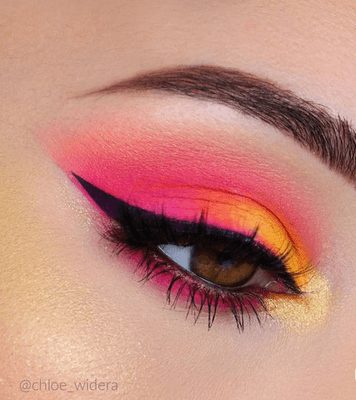 Neon Pink and Neon Orange Eye Makeup with Glitter    From Neon eyeshadow looks, neon eyeshadow in bright colors, from green, yellow, orange, hot pink, and blue. Beautiful eye makeup eyes, from neon eyeshadow makeup inspiration  colorful eye makeup, bright eye makeup, dramatic colorful eye makeup, and neon eyeshadow makeup tutorial, perfect for summer. Here you'll find the best bold ideas for bright neon eye makeup ideas, colorful eyeshadow, neon makeup glitter, and summer festival makeup #neoneyeshadow #neoneyemakeup #colorfuleyemakeup #brighteyemakeup #neoneyemakeupideas