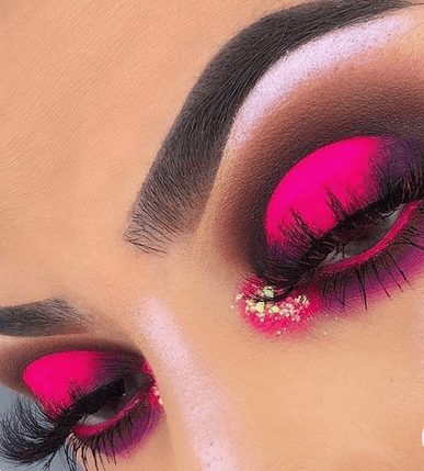 Neon Pink Eye Shadow with Glitter    From Neon eyeshadow looks, neon eyeshadow in bright colors, from green, yellow, orange, hot pink, and blue. Beautiful eye makeup eyes, from neon eyeshadow makeup inspiration  colorful eye makeup, bright eye makeup, dramatic colorful eye makeup, and neon eyeshadow makeup tutorial, perfect for summer. Here you'll find the best bold ideas for bright neon eye makeup ideas, colorful eyeshadow, neon makeup glitter, and summer festival makeup #neoneyeshadow #neoneyemakeup #colorfuleyemakeup #brighteyemakeup #neoneyemakeupideas