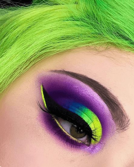 Neon Purple and Neon Green Eye Shadow with Glitter    From Neon eyeshadow looks, neon eyeshadow in bright colors, from green, yellow, orange, hot pink, and blue. Beautiful eye makeup eyes, from neon eyeshadow makeup inspiration  colorful eye makeup, bright eye makeup, dramatic colorful eye makeup, and neon eyeshadow makeup tutorial, perfect for summer. Here you'll find the best bold ideas for bright neon eye makeup ideas, colorful eyeshadow, neon makeup glitter, and summer festival makeup #neoneyeshadow #neoneyemakeup #colorfuleyemakeup #brighteyemakeup #neoneyemakeupideas