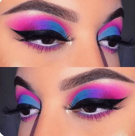 Neon Blue and Neon Pink Eye Shadow   From Neon eyeshadow looks, neon eyeshadow in bright colors, from green, yellow, orange, hot pink, and blue. Beautiful eye makeup eyes, from neon eyeshadow makeup inspiration  colorful eye makeup, bright eye makeup, dramatic colorful eye makeup, and neon eyeshadow makeup tutorial, perfect for summer. Here you'll find the best bold ideas for bright neon eye makeup ideas, colorful eyeshadow, neon makeup glitter, and summer festival makeup #neoneyeshadow #neoneyemakeup #colorfuleyemakeup #brighteyemakeup #neoneyemakeupideas