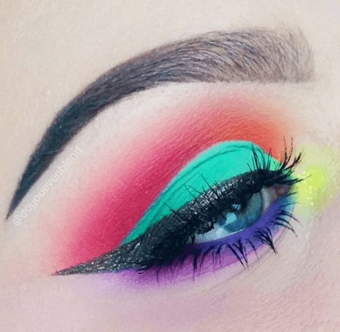 Neon Rainbow Eye Makeup Eye Shadow   From Neon eyeshadow looks, neon eyeshadow in bright colors, from green, yellow, orange, hot pink, and blue. Beautiful eye makeup eyes, from neon eyeshadow makeup inspiration  colorful eye makeup, bright eye makeup, dramatic colorful eye makeup, and neon eyeshadow makeup tutorial, perfect for summer. Here you'll find the best bold ideas for bright neon eye makeup ideas, colorful eyeshadow, neon makeup glitter, and summer festival makeup #neoneyeshadow #neoneyemakeup #colorfuleyemakeup #brighteyemakeup #neoneyemakeupideas