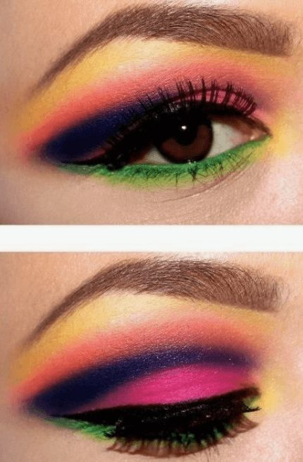 Neon Green and Neon Pink Eye Makeup Eye Shadow   From Neon eyeshadow looks, neon eyeshadow in bright colors, from green, yellow, orange, hot pink, and blue. Beautiful eye makeup eyes, from neon eyeshadow makeup inspiration  colorful eye makeup, bright eye makeup, dramatic colorful eye makeup, and neon eyeshadow makeup tutorial, perfect for summer. Here you'll find the best bold ideas for bright neon eye makeup ideas, colorful eyeshadow, neon makeup glitter, and summer festival makeup #neoneyeshadow #neoneyemakeup #colorfuleyemakeup #brighteyemakeup #neoneyemakeupideas