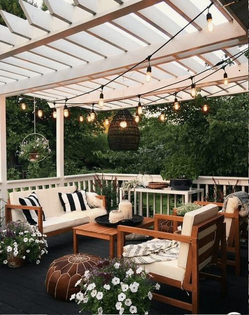 The Best Outdoor Patio Furniture on Amazon for Summer | Boho Outdoor Patio. Looking for modern ideas for outdoor patio furniture? Find ideas on how to decorate outdoor patio, lounge areas, ideas layout, and small dining lounge areas with fire pit, set decks, outdoor porch ideas, cushions, backyard ideas and patio inspiration for small space during summer. #patiofurniture #outdoorfurniture #patiodecore #patioinspiration