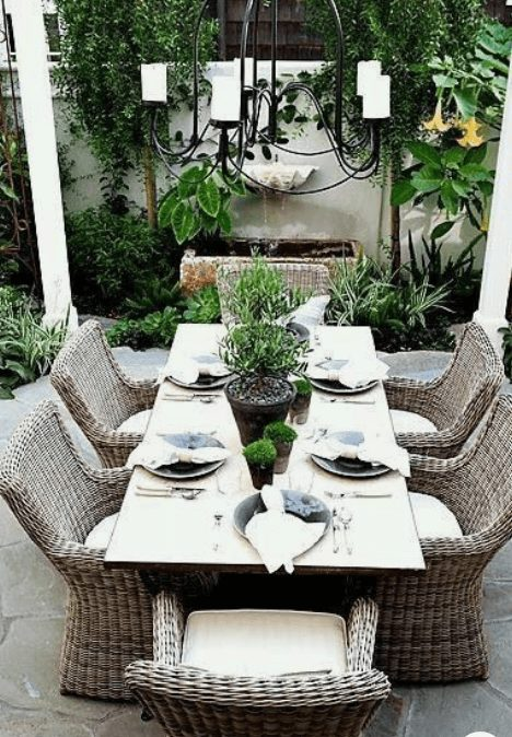 The Best Outdoor Patio Furniture on Amazon for Summer | Outdoot table setting. Looking for modern ideas for outdoor patio furniture? Find ideas on how to decorate outdoor patio, lounge areas, ideas layout, and small dining lounge areas with fire pit, set decks, outdoor porch ideas, cushions, backyard ideas and patio inspiration for small space during summer. #patiofurniture #outdoorfurniture #patiodecore #patioinspiration