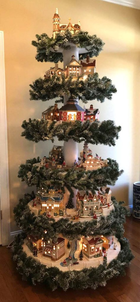 Layered Christmas Tree Ideas | Want ideas for unique Christmas trees for the 2020 holiday season? Find inspiration ideas for your Christmas tree decoration from creative and unique xmas trees. From white, upside down, best Christmas trees on wall, pink Christmas trees, and even Disney Christmas tree decorations. From big and small unique Christmas tree ideas. Perfect for kids and for the holidays. #uniquechristmastree #christmastreeideas #christmastreeideas #christmas