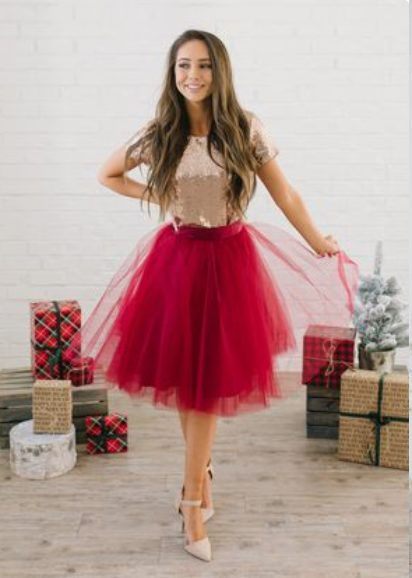Girl wearing a  Maroon Ballerina Skirt is perfect Classy Christmas party outfits