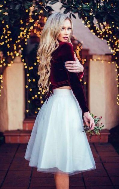 White Ballerina Skirt with Long-Sleeved Red Velvet Shirt