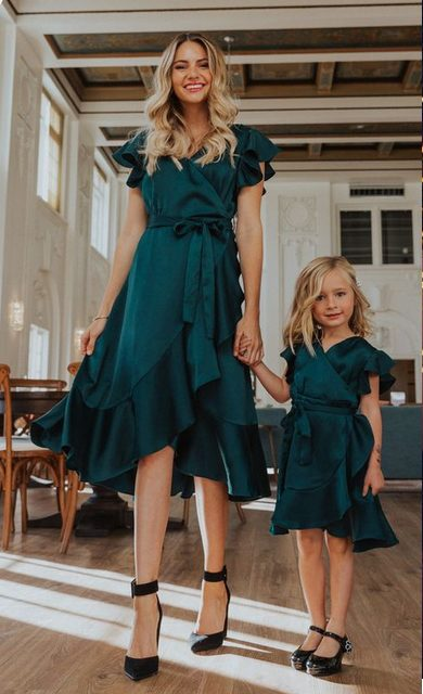 Mother + Daughter Matching Green Christmas Party Dress  is a perfect Classy Christmas party outfits
