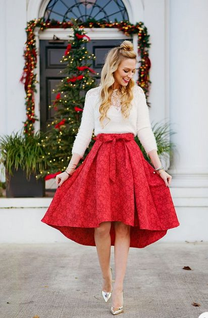 Girl wearing a  Chic Red Midi Skirt outside