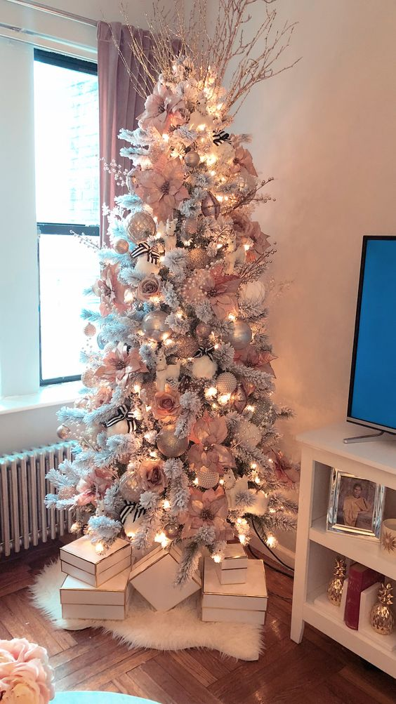 Pink Pastel Xmas Tree | Want ideas for unique Christmas trees for the 2020 holiday season? Find inspiration ideas for your Christmas tree decoration from creative and unique xmas trees. From white, upside down, best Christmas trees on wall, pink Christmas trees, and even Disney Christmas tree decorations. From big and small unique Christmas tree ideas. Perfect for kids and for the holidays. #uniquechristmastree #christmastreeideas #christmastreeideas #christmas