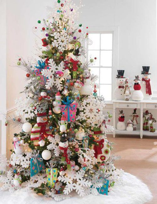 Snowman Christmas Tree Perfect for Kids  | Want ideas for unique Christmas trees for the 2020 holiday season? Find inspiration ideas for your Christmas tree decoration from creative and unique xmas trees. From white, upside down, best Christmas trees on wall, pink Christmas trees, and even Disney Christmas tree decorations. From big and small unique Christmas tree ideas. Perfect for kids and for the holidays. #uniquechristmastree #christmastreeideas #christmastreeideas #christmas